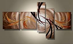 Wieco Art - Extra Large The Extension Of The Universe Modern 5 Panels Framed Artwork 100% Hand Painted Abstract Oil Paintings on Canvas Wall Art for Living Room Home Decorations XL
