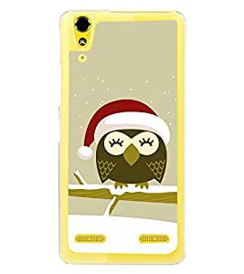 Cute Owl with Santa Cap 2D Hard Polycarbonate Designer Back Case Cover for Lenovo A6000 Plus :: Lenovo A6000+ :: Lenovo A6000
