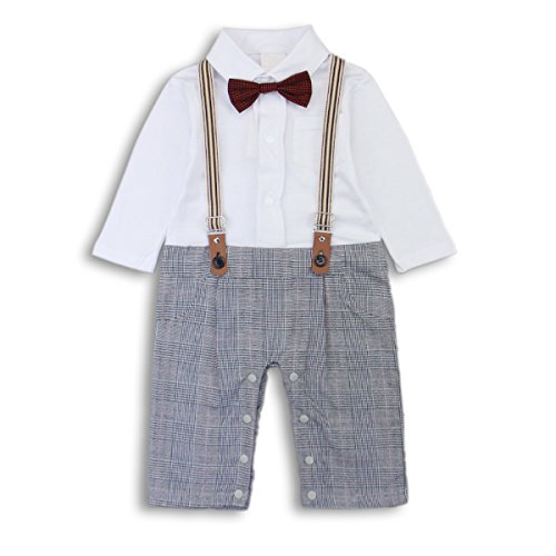 Baby Boy Romper Jumpsuit Toddler Outfits Suit Set with Bowtie & Straps