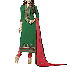 Destiny Enterprise Embroidered Cotton Unstitched Party Wear Green Color Dress Material for Women