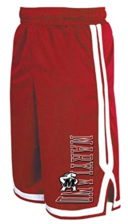 NCAA Maryland Terrapins Men's Long Mesh Pocket Short, True Red/White, Small