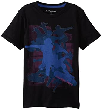 Calvin Klein Little Boys' Skater Graphic Tee 2, Black, Small