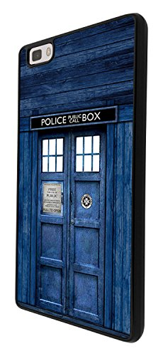 567 - Doctor Who Tardis Police Call Box Design Per Huawei Ascend P8 Lite Case Caso / Cover copertura posteriore - Nero