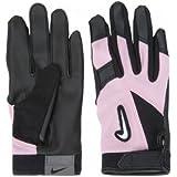 Nike GB0304 Diamond Elite Edge Batting Gloves - Tee Ball - Black/Pink, Medium/Large/BLACK/PINK/WHITE