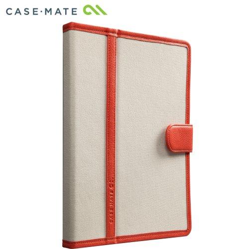 Case-Mate 日本正規品 iPad Retinaディスプレイモデル (第4世代) / iPad (第3世代) / iPad 2 対応 Slim Stand Case Trimmed Canvas, Tangerine Tango / White スタンド機能つき ブックタイプ スリムスタンド ケース 「トリム キャンバス」 タンジェリンタンゴ/ホワイト CM020575
