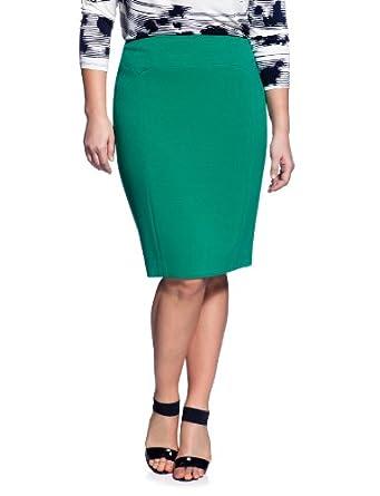 eloquii Pieced Front Pencil Skirt Women's Plus Size Green 24W