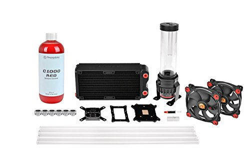 Thermaltake Pacific RL240 D5 Hard Tube Water Cooling Kit with 2 Red Riing Case Fans and Red Coolant (Desktop Computer Water Cooler compare prices)