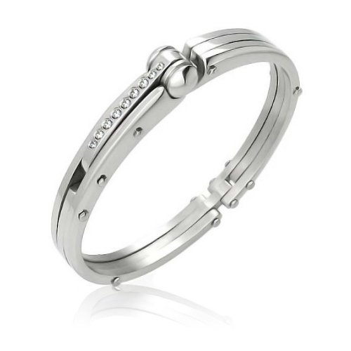Bling Jewelry Steel CZ Handcuff Bangle 50 Shades of Grey Inspired Bracelet