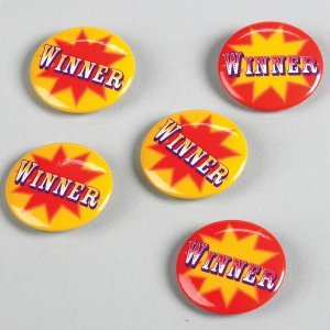 Big Top Winner Buttons (6) Party Accessory