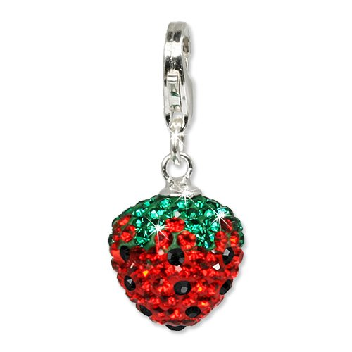 SilberDream Glitter Charm Swarowski Elements strawberry, 925 Sterling Silver Charms Pendant with Lobster Clasp for Charms Bracelet, Necklace or Earring GSC301