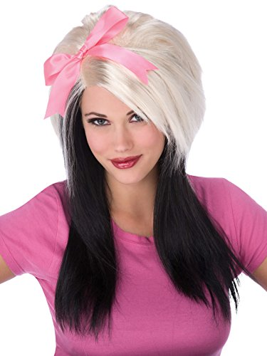 Black and White Scene Wig with Large Pink Bow Womens Synthetic Wig