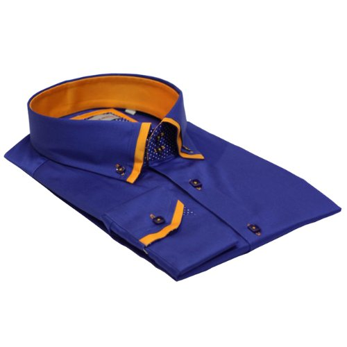 Men Shirt Italian Design High Collar Slim Fit Smart Casual Formal Double Button SL472 Royal Blue