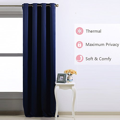Nicetown Room Darkening Blackout Curtains Window Panel Drapes - (Navy Blue Color) 1 Panel, 52 inch wide by 84 inch long each panel, 8 Grommets / Rings per panel (Thermal Curtains For Boys compare prices)