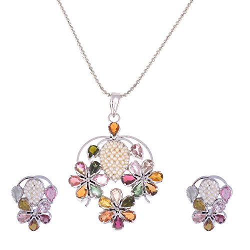 925 Sterling Silver Multi tourmalime & Pearl Rhodium Plated Pendant Set (multicolor)