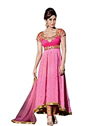 VIHA Pink Embroidered Georgette Unstitched Dress Materials