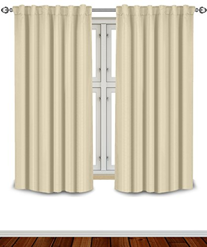 Blackout Room Darkening Curtains Window Panel Drapes - Beige Color 2 Panel Set, 52 inch wide by 63 inch long each panel- 7 Back Loops per Panel- 2 Tie Back Included - by Utopia Bedding (Color Drapes compare prices)
