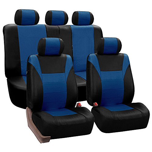 FH Group PU003BLUE115 Blue Racing Style Faux Leather Seat Cover (Full Set Airbag compatible and Split Bench) (Leather Racing Seat Covers compare prices)