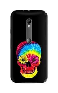 Urban Monk Bright Summer Skull Mobile Back Cover for Moto X Play [Matte Finish]