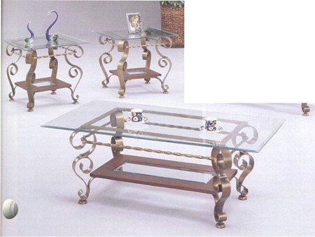 Buy low price 3pc wrought iron medallion coffee table 2 for Wrought iron and glass coffee table sets
