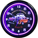 Route 66 Get Your Kicks Neon Wall Clock 20 Inch Made In USA New