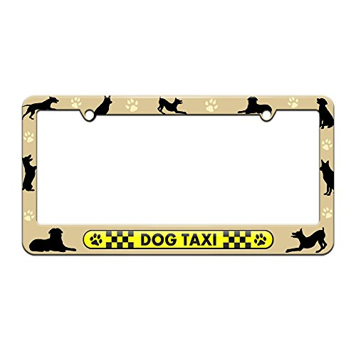 Dog Taxi - Paw Prints Checkered Logo - License Plate Tag Frame - Dog Silhouettes Design (Dog Taxi License Plate compare prices)