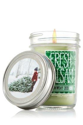 Bath & Body Works Holiday Traditions Fresh Balsam scented Mason Jar Candle Snowday 2013 6 oz