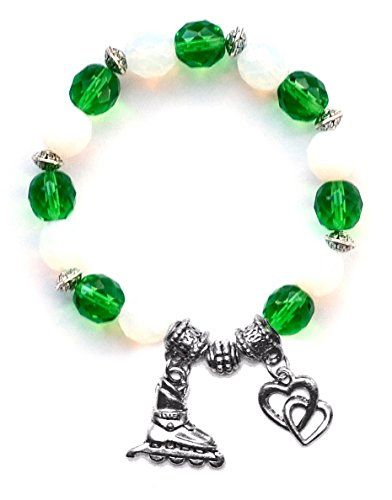 """""""Inline Hockey Skate"""" Girls Roller Hockey Bracelet (Team Colors Kelly Green & White)-Medium"""