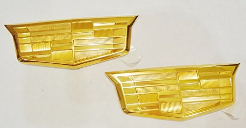 Cadillac NEW STYLE ALL GOLD EMBLEM PAIR (Cadillac Emblem Gold compare prices)