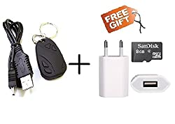 Krazzy Collection Audio/Video Recording Key Chain Spy Camera + Free 8GB SanDisk Card + Free USB Charger