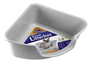 SmartCat Corner Litter Box, Gray