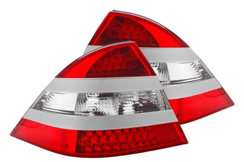 Tail Light Lens and Housing Compatible with 2001-2002 Honda Civic Inner Clear and Red Lens Sedan Driver Side