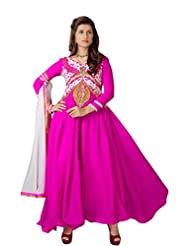 Women's Pink & White Embroidered Georgette Suit