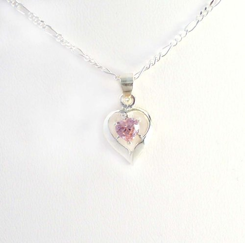 Birthstone October Pink Heart Crystal Sterling Silver Necklace, 20