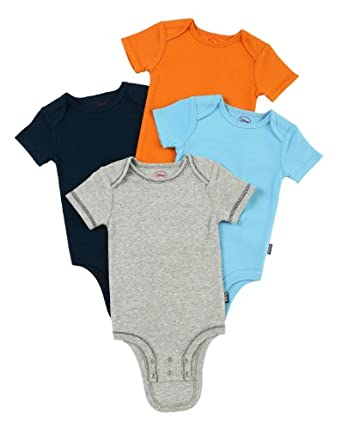 Disney Cuddly Bodysuit with Grow an Inch Snaps, Mickey Mouse Bold Solids 4 Pack, Heather/Blue/Orange/Navy, 0-3 Months