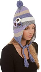 Sakkas Crochet Flower Multi-Color Stripe Fully Lined Earflap Hat