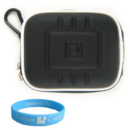 EVA Carrying Case for Panasonic Lumix Dmc-zs3 Dmc-zs1 Dmc-ls85 Dmc-lz10 Dmc-fs15 Dmc-fs25 and More. (Multiple Colors Available) (Black)+SumacLife TM Wisdom Courage Wristband