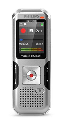 Philips DVT4000 Digitales Diktiergerät mit automatischer Mikrofonanpassung, Metallgehäuse, 4 GB interner Speicher, Micro-USB-Anschluss,  Li-Polymer-Akku, MP3, Plug and Play, Win/Mac/Linux, Silber