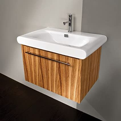 Lacava Wall-mount under-counter vanity with a brushed stainless steel pull on one drawer. The drawer has U-shaped notch for p