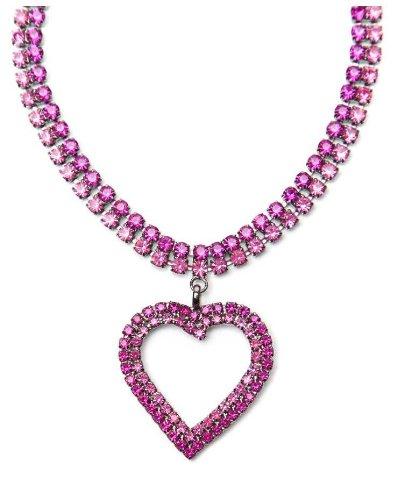 Fuchsia Heart Shape Fashion Jewellery Necklace / Swarovski Crystal Necklace with Heart Pendant in Fuchsia - Heart Crystal Necklace in Fuchsia