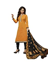 Desi Look Women's Orange Cotton Dress Material With Dupatta