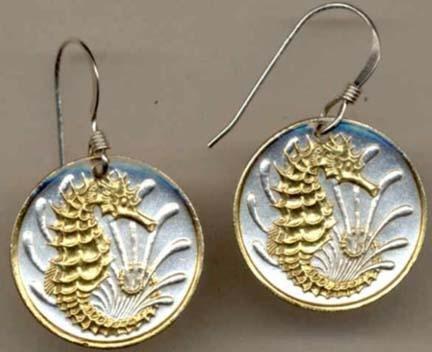 Singapore 10 Cent ÒSea HorseÓ Two Tone Coin Earrings