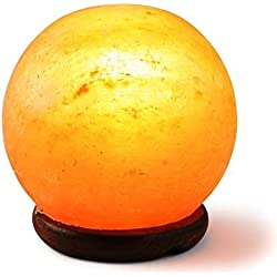 [Hand Crafted] HemingWeigh Rock Salt Sphere Lamp with Wood Base, Electric Wire 14-15 CM