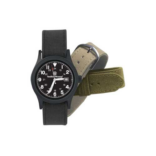 Black Military Watch with 3 Straps Gift Set