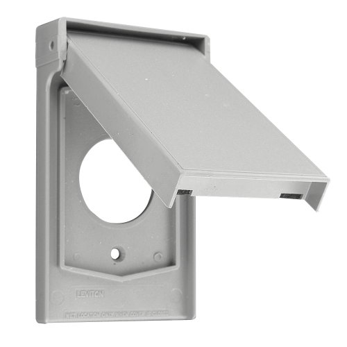 Leviton 4980-GY 1-Gang Single 20A or 30A Locking Receptacle Wallplate Cover, Weather Resistant Thermoplastic, Device Mount, Vertical, Gray