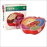 Creative Multicoloured Lock And Fit Apple Shaped Snacks And Dryfruits Serving Tray With Transparent Lid