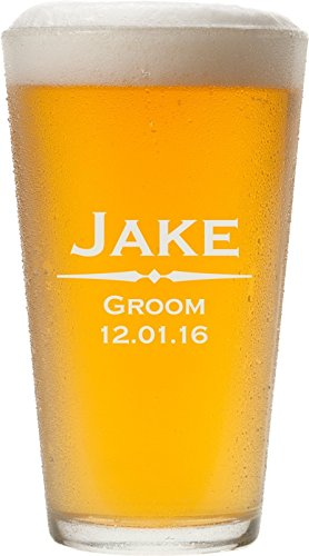 ANY TEXT, Custom Engraved Pint Glasses for Beer, 16 oz - PG01 (Monogram Beer Glasses compare prices)