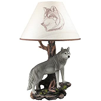 Rustic Wolf Table Lamp Statue In Decorative Southwestern