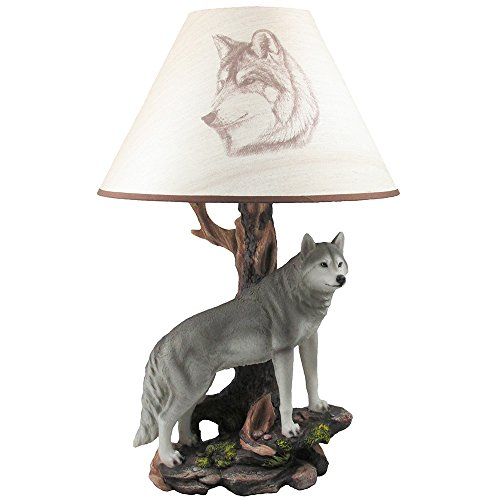 Rustic Wolf Table Lamp Statue In Decorative Southwestern, Cabin And Lodge Decor Sculptures & Figurines Lighting And Timberwolf Wildlife Animal Light Gifts For Outdoorsmen front-185119