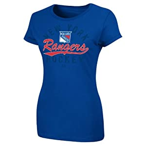 NHL New York Rangers Women's Behind the Glass T-Shirt, Deep Royal, Large