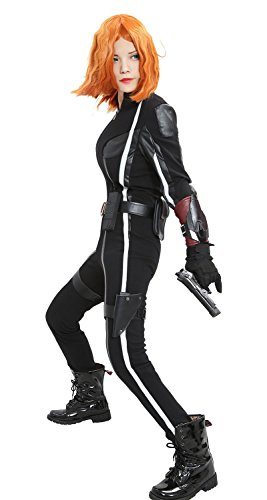 Halloween Women's Avengers Black Widow Combat Outfits Suit Costume for Movie Cosplay